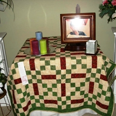 Quilt covering a table at Richard's  funeral