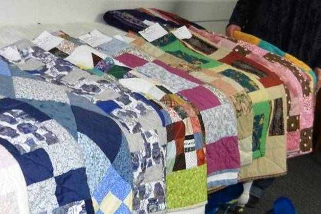 Several quilts completed by the Winchester Friends Group